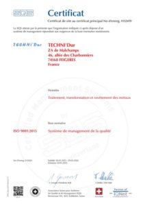 Société chromage dur certification qualité 9001:2015